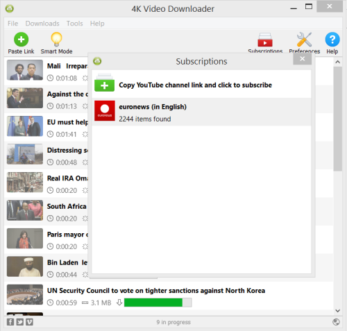 Subscribe to YouTube channels right in 4K Video Downloader